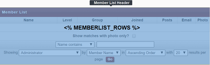 Member List Headers)